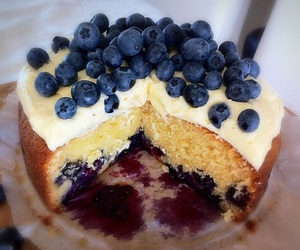 cake, food, and blueberry image