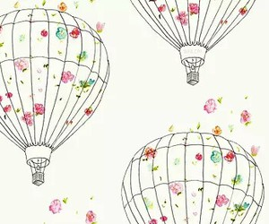 flowers, backgrounds, and hot air balloon image