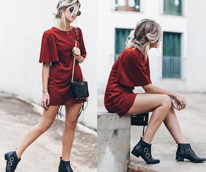 fashion, pretty, and red dress image