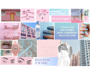 blue, pink, and Polyvore image