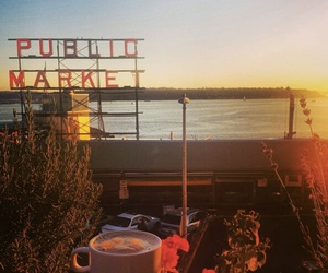 city, coffee, and pike place market image