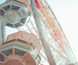 ferris wheel, pink, and pastel image