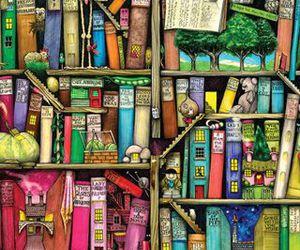 wallpaper, book, and bookshelf image