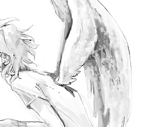 angel, monochrome, and anime image