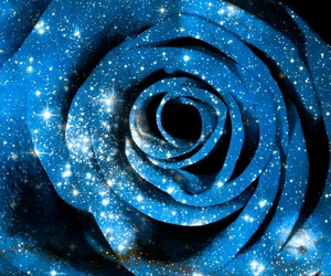 blue, galaxy, and flowers image