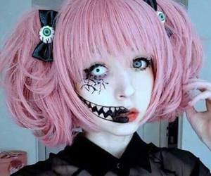 pastel goth, pink, and creepy image