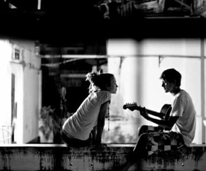 love, couple, and guitar image