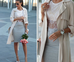 look chic, classe love, and jupe taille haute gris image
