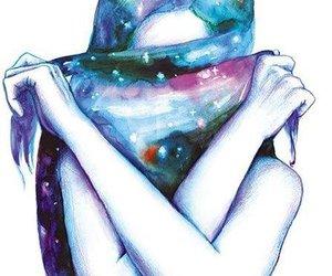 girl, art, and galaxy image