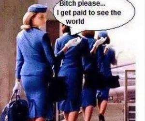 flight attendant, airliner, and flight crew image
