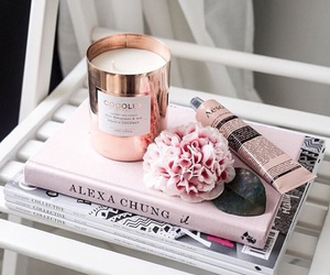 pink, book, and candle image