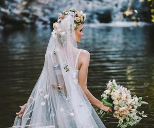 flowers, bride, and dress image