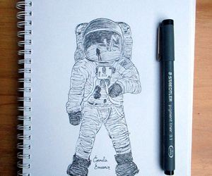 astronaut, drawing, and ink image