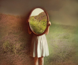 mirror, girl, and photography image