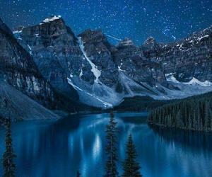 stars, lake, and nature image