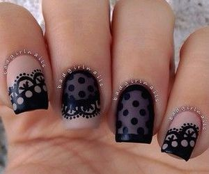 nails, black, and lace image