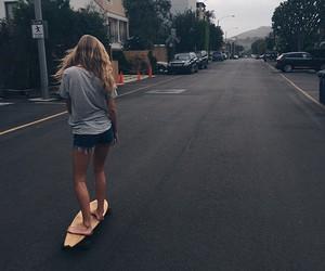 girl, skateboard, and skate image