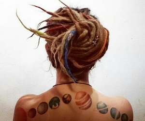 hair, planets, and universe image