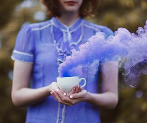 purple, girl, and smoke image
