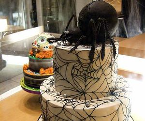 black and white, Halloween, and cake image