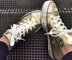 converse, fashion, and gold image
