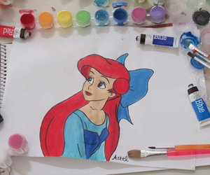 ariel, little mermaid, and paint image