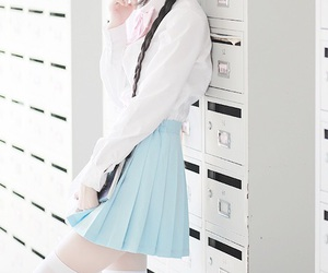 blue, girl, and pastel image