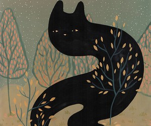 black cat, cat, and leaves image