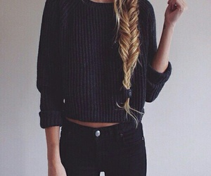fashion, hair, and black image