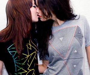 lesbian, kiss, and lesbian love image