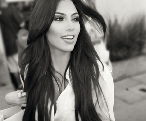 kim kardashian, kim, and black and white image