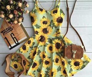dress, fashion, and sunflower image