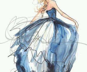 dress, drawing, and blue image