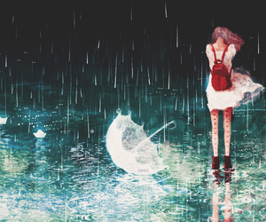rain, anime, and umbrella image