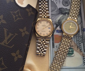 money, watch, and iphone image