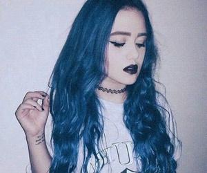 blue hair, girl, and long hair image