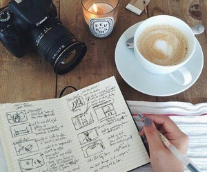 camera, candle, and coffee image