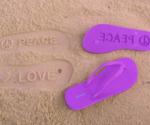 peace, love, and beach image