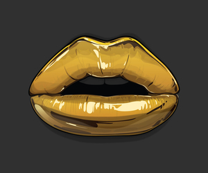 lips, gold, and art image