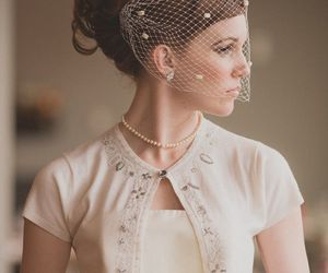 bridal, veil, and wedding image