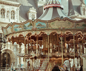 carousel, paris, and vintage image