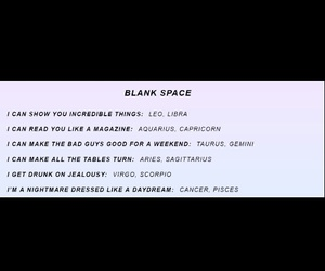 blank space, Taylor Swift, and the zodiac signs image