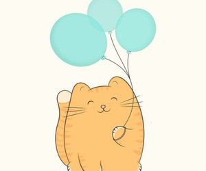 cat, cute, and balloons image