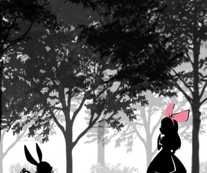 alice, wonderland, and rabbit image