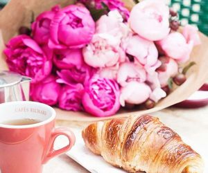 flowers, pink, and breakfast image