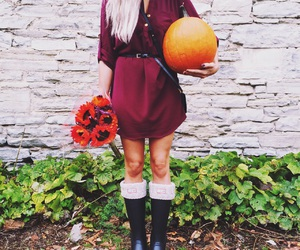 fall, pumpkin, and boots image