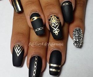 black, diamonds, and diamondnails image