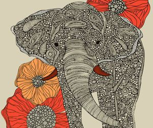 elephant, art, and flowers image