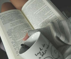 girl, tea, and book image