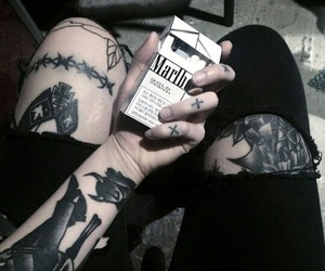 tattoo, black, and cigarette image